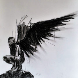 Angel. Study 2. Charcoal Drawing