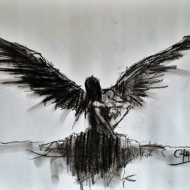 Angel. Study 3. Charcoal Drawing