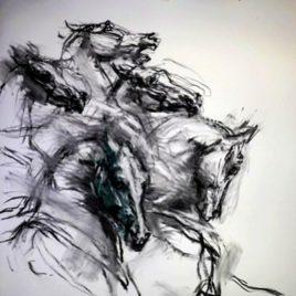 The Race. Charcoal Drawing