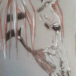 Head. Etude 6. Charcoal Drawing